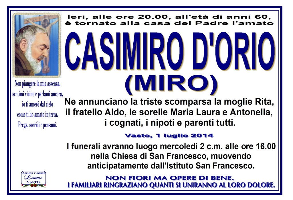 CASIMIRO D'ORIO