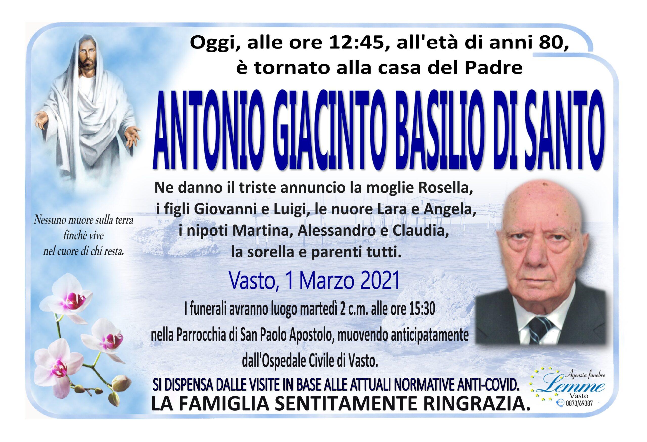ANTONIO GIACINTO BASILIO DI SANTO